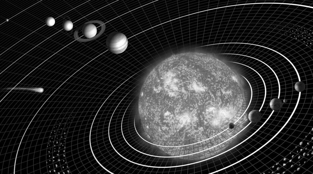 Art: H.Smith & L.Generosa (2005) Solar system model. Gedownload en bewerkt voor Leerbaas.app 15-07-2020 https://commons.wikimedia.org/wiki/File:Solar_sys.jpg